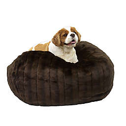 Carolina Pet Ombre Faux Fur Large/Extra Large Puff Ball Pet Bed in Brown Mink