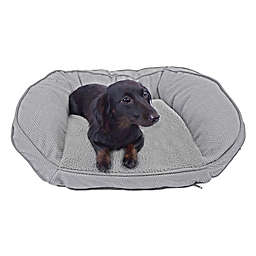 Precious Tails 24-Inch Curved Orthopedic Memory Foam Herringbone Sofa Pet Bed in Grey