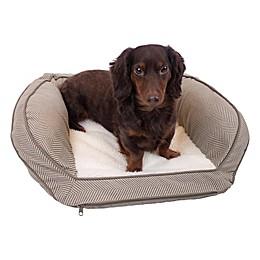 Precious Tails 24-Inch Curved Orthopedic Memory Foam Herringbone Sofa Pet Bed