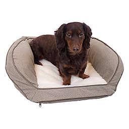 Precious Tails 24-Inch Curved Orthopedic Memory Foam Herringbone Sofa Pet Bed in Mocha