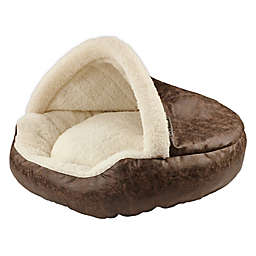 Precious Tails Deep Dish Cave Medium Pet Bed in Brown