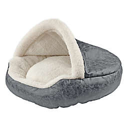 Precious Tails Deep Dish Cave Medium Pet Bed in Grey