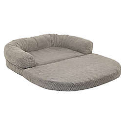 Precious Tails 36-Inch Chenille Round Sofa Fold Out Orthopedic Pet Bed in Grey
