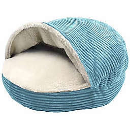 Precious Tails 18-Inch Cozy Corduroy and Sherpa Lined Pet Cave Bed in Turquoise