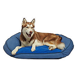 Precious Tails 40-Inch Curved Orthopedic Memory Foam Herringbone Sofa Pet Bed in Navy