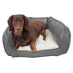 Precious Tails Curved Orthopedic Memory Foam Small Pet Sofa Bed in Grey
