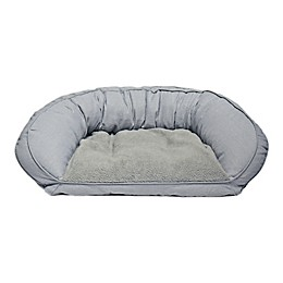 Precious Tails 33-Inch Curved Orthopedic Memory Foam Herringbone Sofa Pet Bed
