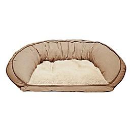 Precious Tails 33-Inch Curved Orthopedic Memory Foam Herringbone Sofa Pet Bed