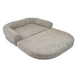Precious Tails 42-Inch Chenille Round Sofa Fold Out Orthopedic Pet Bed in Grey
