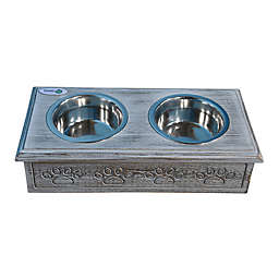 ICONIC PET Wooden Paws Double Diner Pet Feeder with Bowls