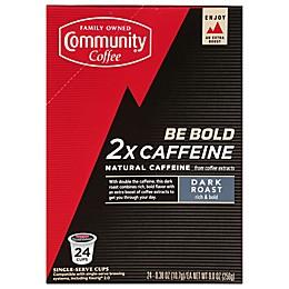 Community Coffee® 2X Caffeine Dark Roast Coffee Pods for Singe Serve Coffee Makers 24-Count