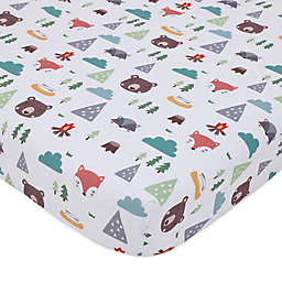 Little Love by Nojo® Retro Happy Camper Fiited Crib Sheet in Green
