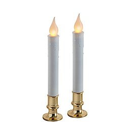 Battery Operated LED Candle Lamps in Brass (Set of 2)