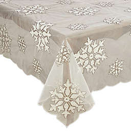 Saro Lifestyle Snowflake Beaded and Embroidered Winter Table Linen Collection