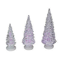 Northlight 3-Piece Clear Color Changing LED Lighted Table Christmas Tree Decorations Set