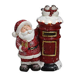 Northlight 15.5-Inch Santa Claus Mailing a Present Lit Figurine in Red