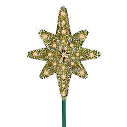 Northlight 21-Inch Star of Bethlehem Christmas Tree Topper in Gold with Clear Lights