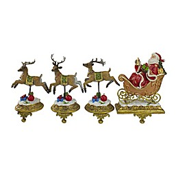 Northlight 4-Piece 9.5-Inch Santa and Reindeer Stocking Holders Set in Gold