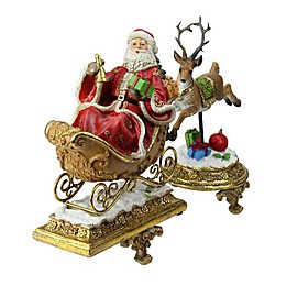 Northlight 2-Piece 9.5-Inch Santa and Reindeer Stocking Holders Set in Red