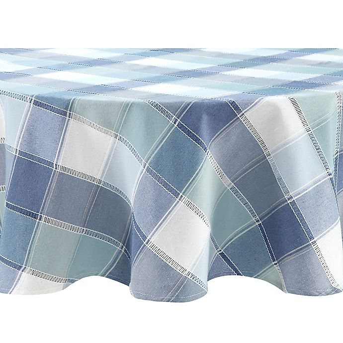 Alternate image 1 for Brooke Woven Plaid 70-Inch Round Tablecloth