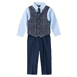 Nautica® 4-Piece Deco Plaid Vest, Shirt, Tie, and Pant Set in Blue