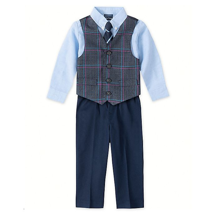 Alternate image 1 for Nautica® 4-Piece Deco Plaid Vest, Shirt, Tie, and Pant Set in Blue