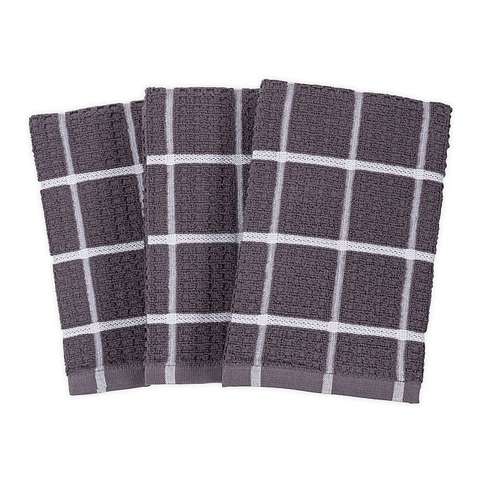 Alternate image 1 for SALT™ All-Purpose Waffle Weave Kitchen Towels in Grey (Set of 3)
