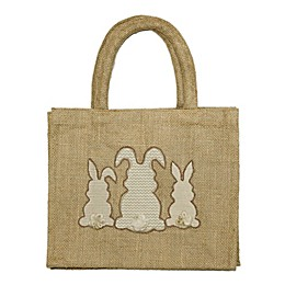 Three Bunny Embroidered Jute Tote Bag