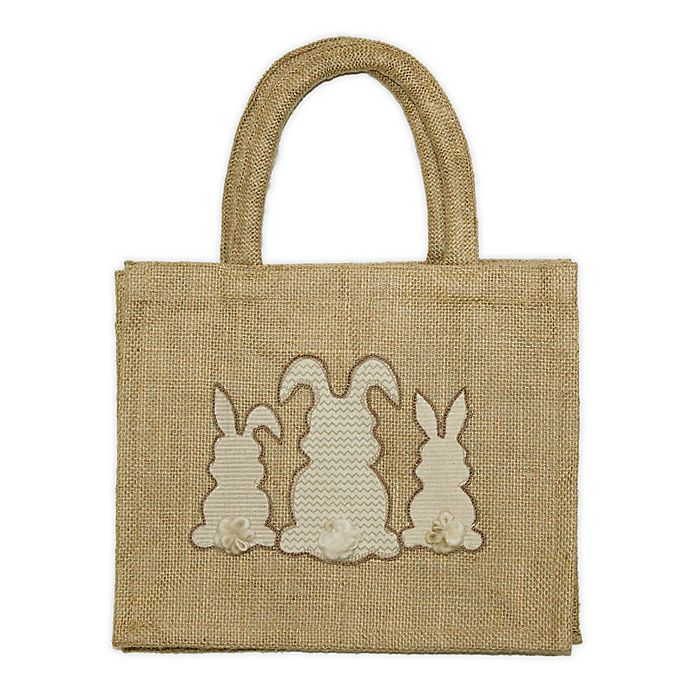 Alternate image 1 for Three Bunny Embroidered Jute Tote Bag