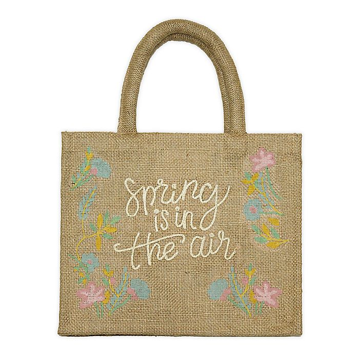 Alternate image 1 for Floral Embroidery Jute Tote Bag