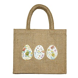 Egg Embroidered Jute Tote Bag