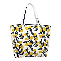 One Kings Lane Open House™ Lemon-Printed Canvas Tote Bag in Yellow/Blue
