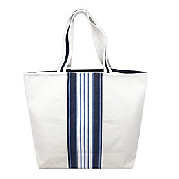One Kings Lane Open House™ Center Stripe Canvas Tote Bag in White/Blue