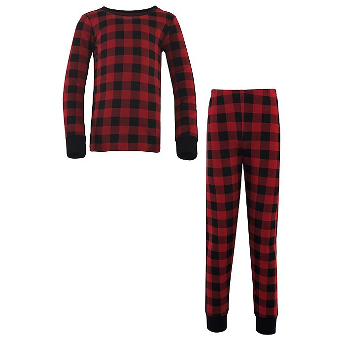 Alternate image 1 for Touched by Nature Organic Cotton Long Sleeve Pajama Set in Black Plaid