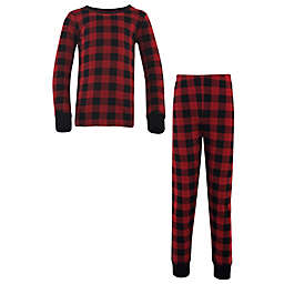Touched by Nature Organic Cotton Long Sleeve Pajama Set in Black Plaid
