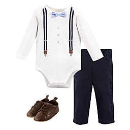 Little Treasure Size 0-3M 3-Piece Suspenders Long-Sleeve Bodysuit, Pant & Shoe Set