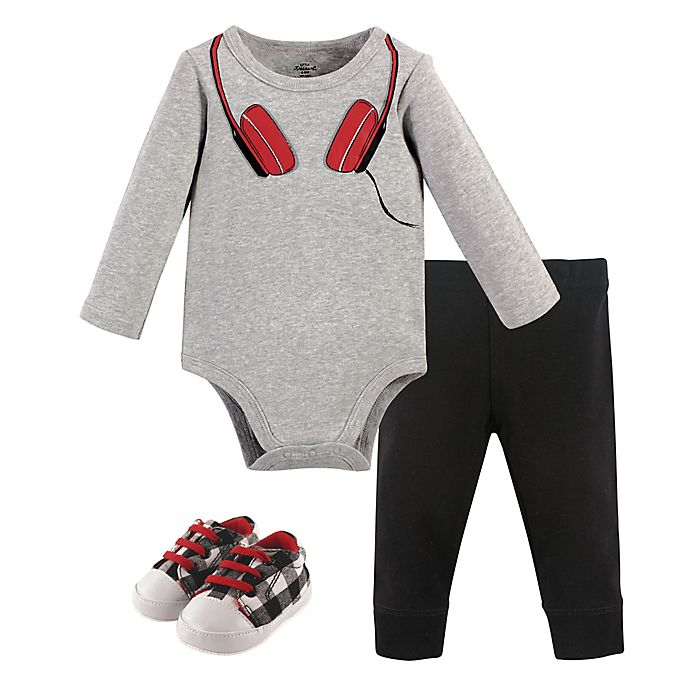 Alternate image 1 for Little Treasure 3-Piece Bodysuit, Pant and Shoe Set