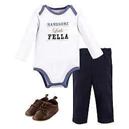 Little Treasure Size 6-9M 3-Piece Handsome Fella Bodysuit, Pant and Shoe Set