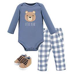 Hudson Baby® Size 0-3M 3-Piece Plaid Little Bear Bodysuit, Pant, and Shoe Set