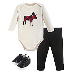 Hudson Baby® 3-Piece Plaid Bodysuit, Pant, and Shoe Set