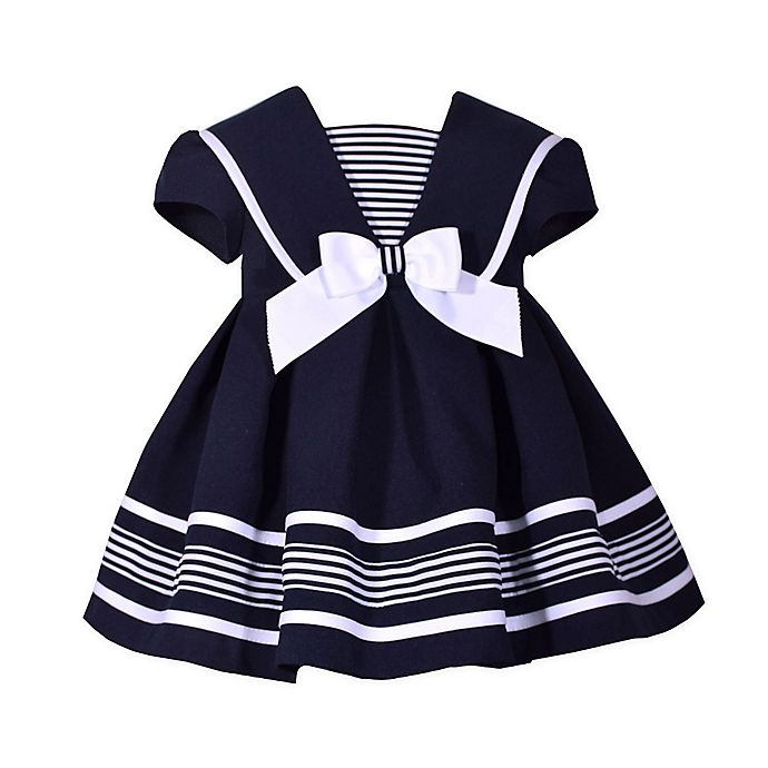 Alternate image 1 for Bonnie Baby Nautical Collar Dress in Navy
