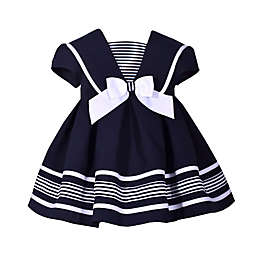 Bonnie Baby Nautical Collar Dress in Navy