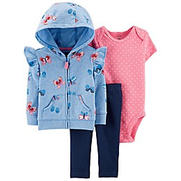 carter's® 3-Piece Butterfly Little Jacket, Bodysuit, and Pant Set in Blue