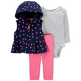 carter's® 3-Piece Heart Little Vest, Bodysuit, and Pant Set in Navy/Pink