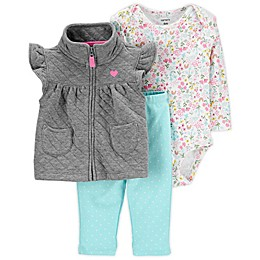 carter's® 3-Piece Quilted Little Vest, Bodysuit, and Pant Set in Turquoise