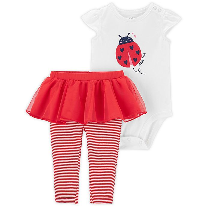 Alternate image 1 for carter's® 2-Piece Ladybug Bodysuit and Tutu Pant Set in Red/White