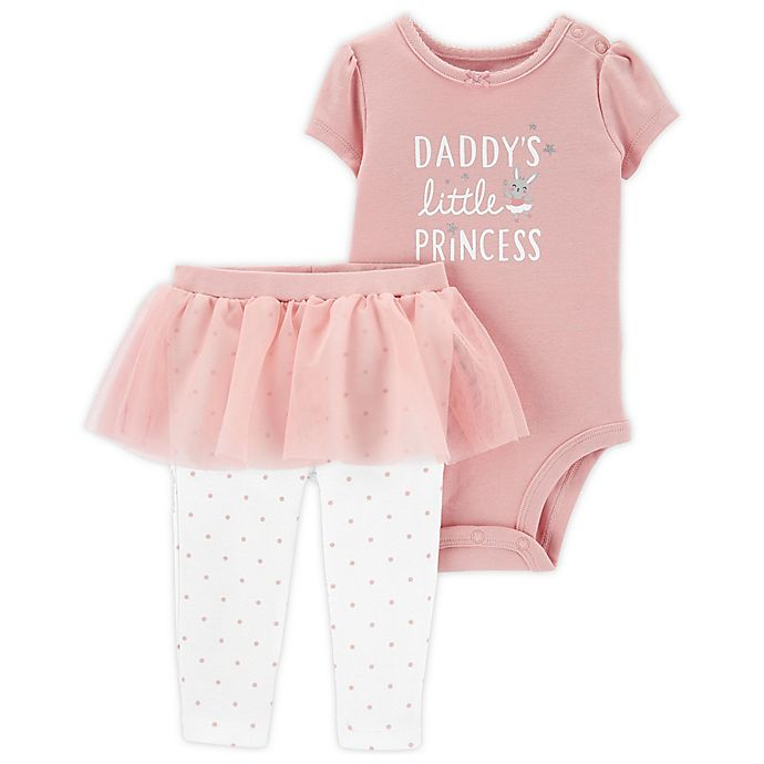 Alternate image 1 for carter's® 2-Piece Little Princess Bodysuit and Tutu Pant Set in Pink/White