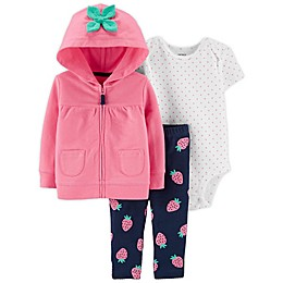 carter's® 3-Piece Strawberry Little Jacket, Bodysuit, and Pant Set in Pink