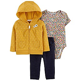 carter's® 3-Piece Floral Little Jacket, Bodysuit, and Pant Set in Yellow