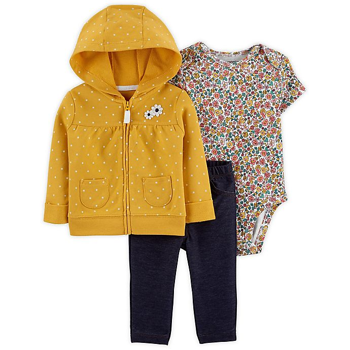 Alternate image 1 for carter's® 3-Piece Floral Little Jacket, Bodysuit, and Pant Set in Yellow